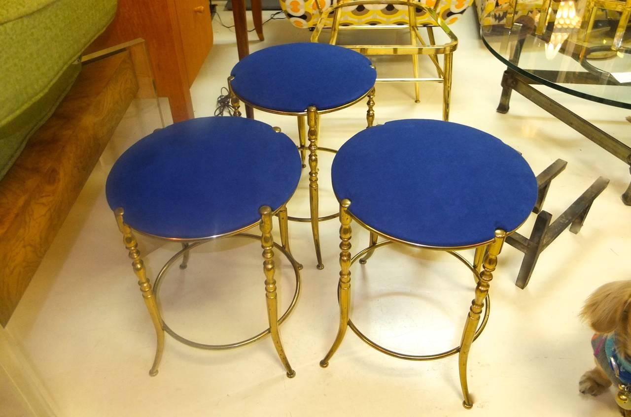 Set of Three Italian Brass Chiavari Round Stools For Sale 4