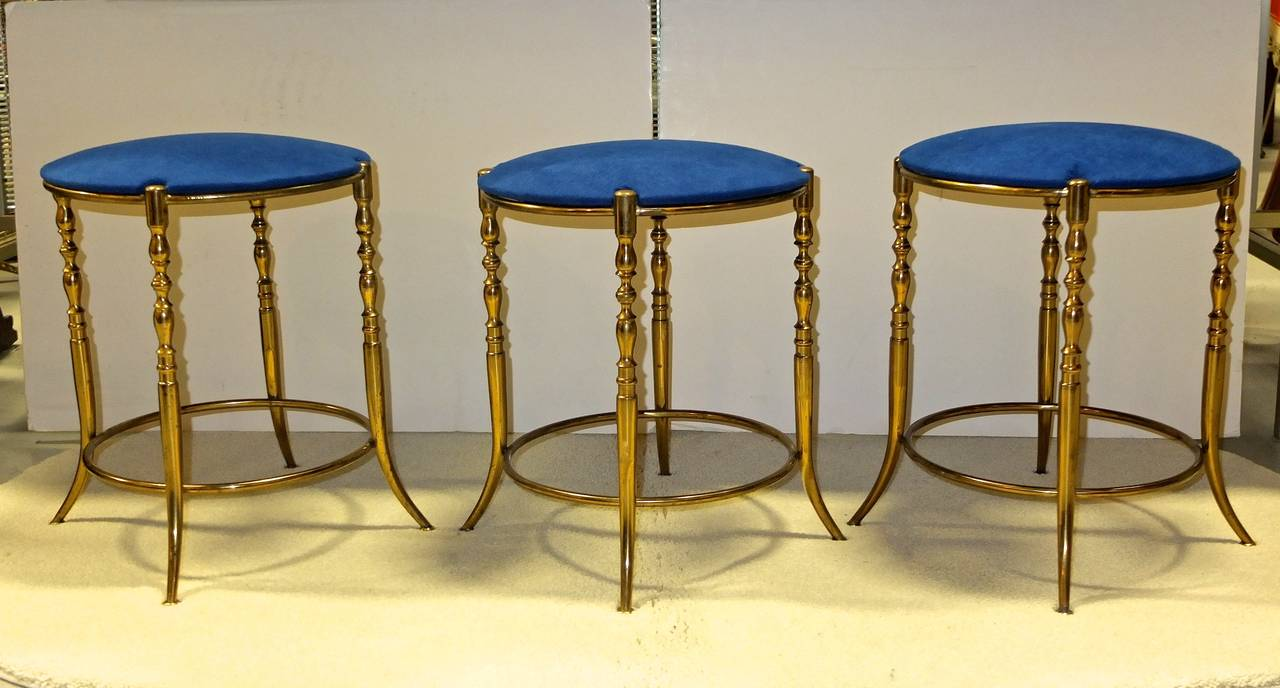 Set of Three Italian Brass Chiavari Round Stools 3