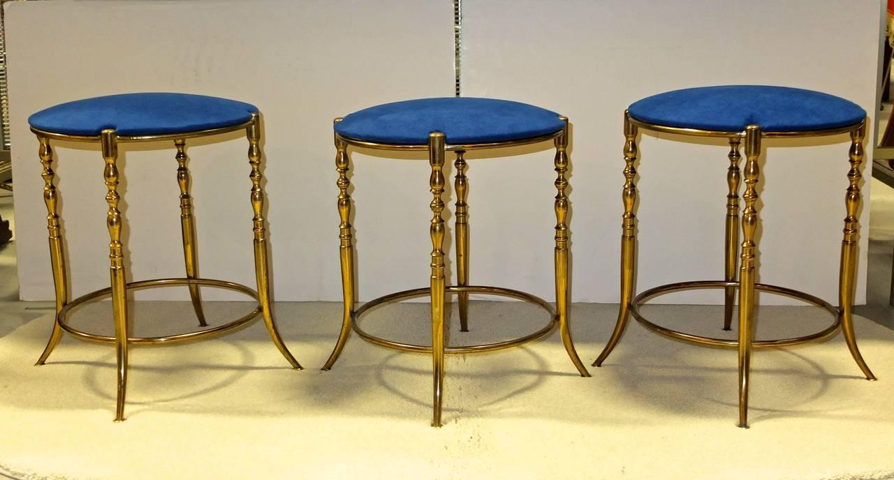 Mid-Century Modern Set of Three Italian Brass Chiavari Round Stools For Sale