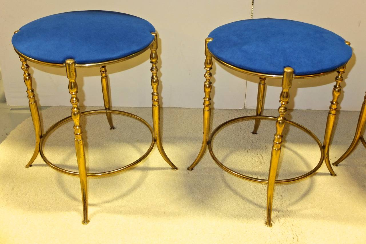 Metalwork Set of Three Italian Brass Chiavari Round Stools For Sale
