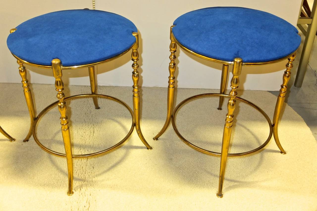 Set of Three Italian Brass Chiavari Round Stools In Good Condition For Sale In Hingham, MA