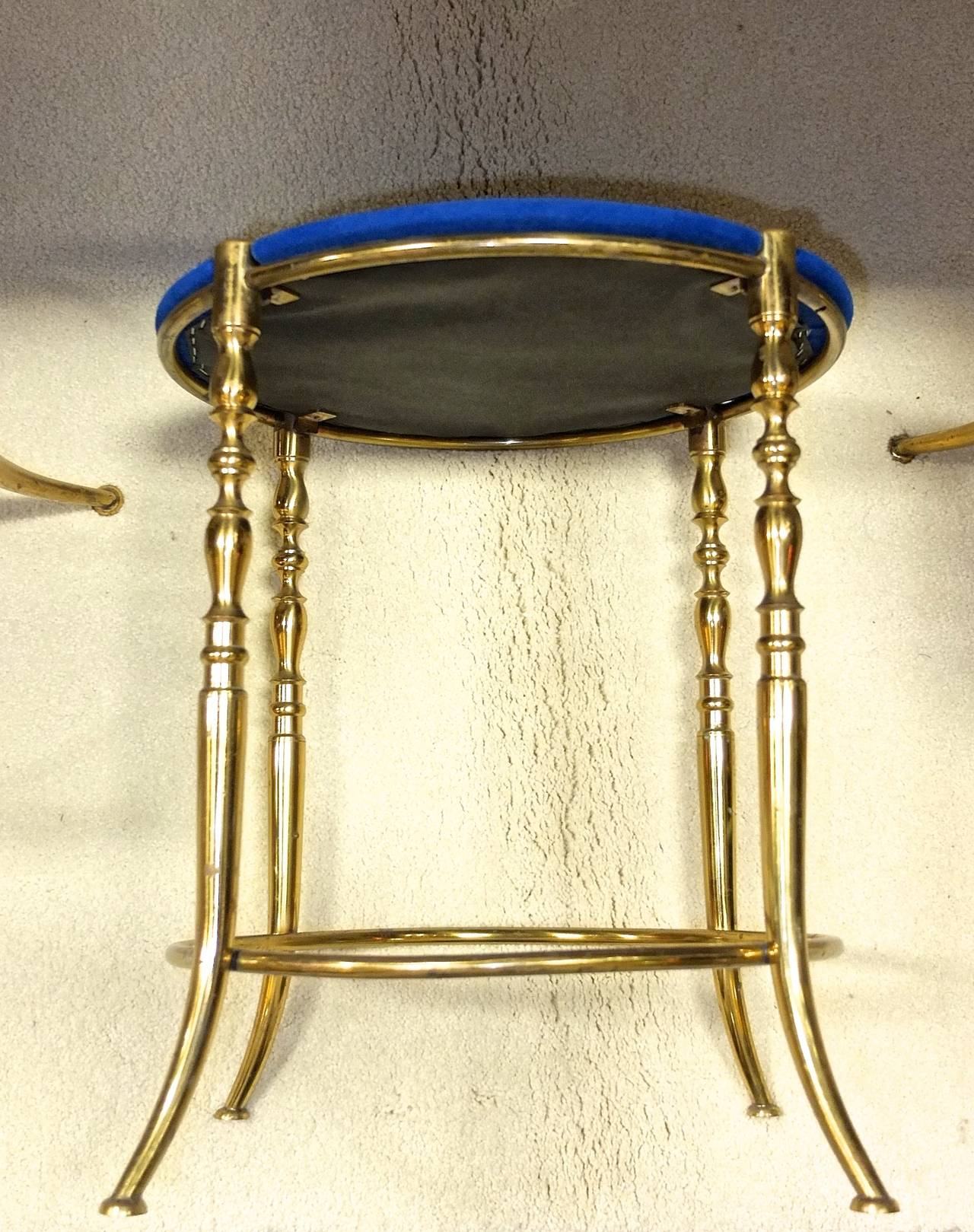 Set of Three Italian Brass Chiavari Round Stools 6