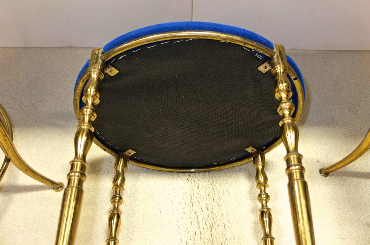 Set of Three Italian Brass Chiavari Round Stools For Sale 1