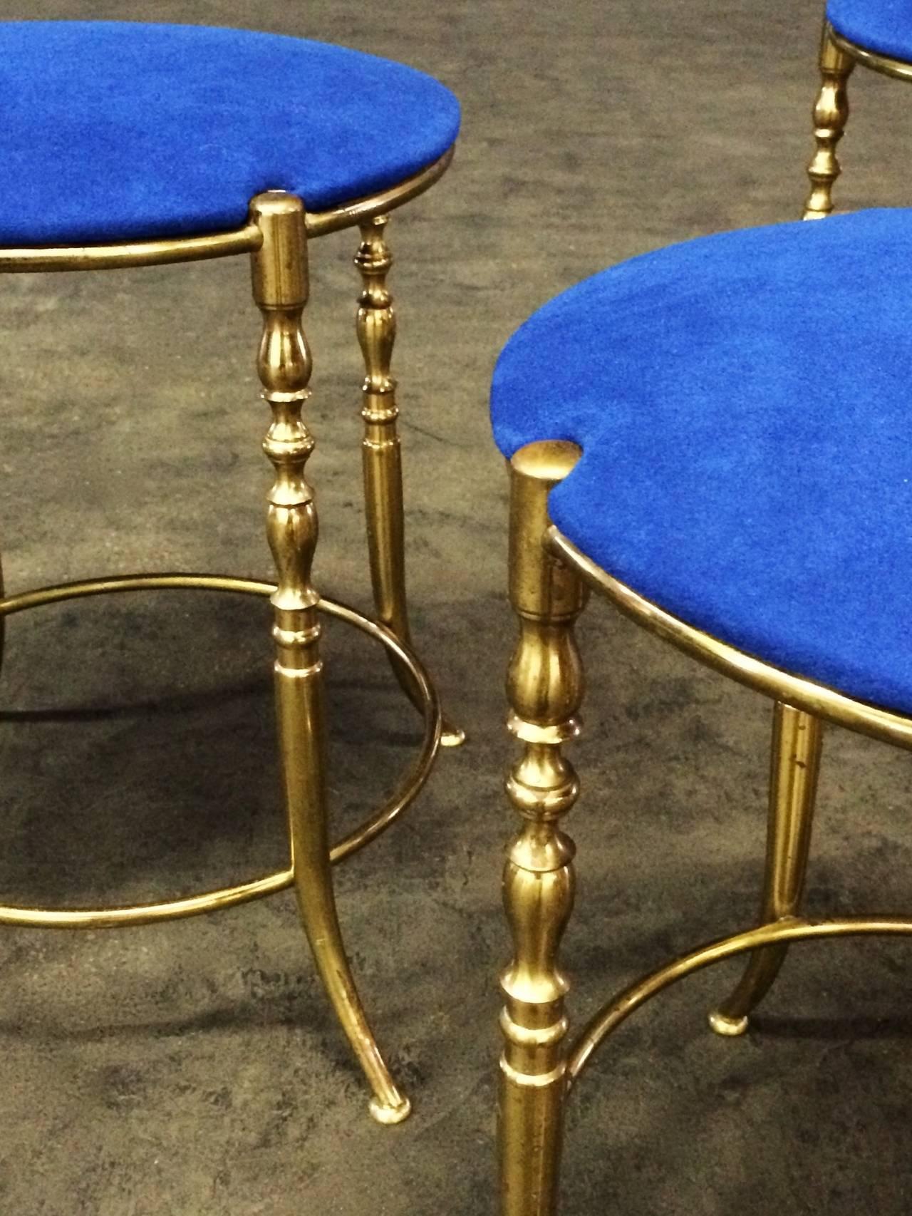 Set of Three Italian Brass Chiavari Round Stools For Sale 3