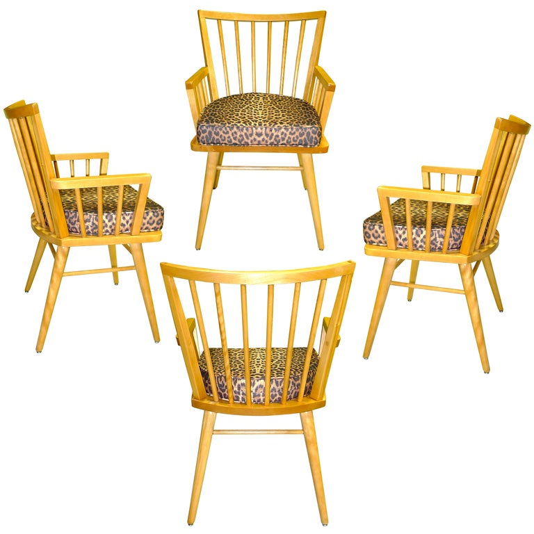 Four Maple Arm Chairs by Leslie Diamond for Conant Ball