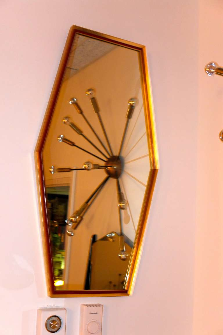 Brass Framed Boat Tail Wall Mirror By Turner At 1stdibs