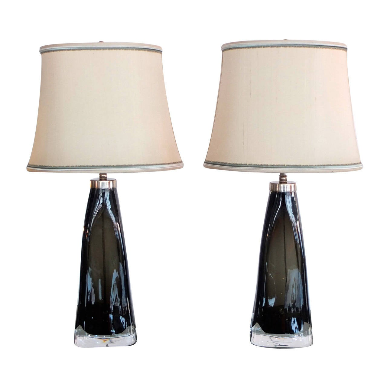 Pair of Smoked Glass Lamps by Carl Fagerlund for Orrefors, Sweden