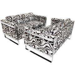 Pair of Chrome Framed Love Seats in the Style of Milo Baughman