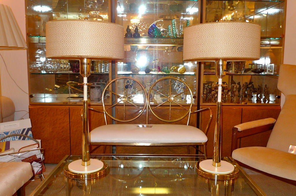 Pair Of Tall Slender Brass Stiffel Lamps At 1stdibs