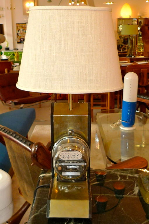 Vintage Electric Company Meter Lamp For Sale 1