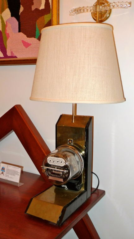 Vintage Electric Company Meter Lamp For Sale 2