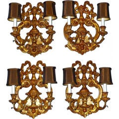 Giltwood Ribbon Sconces by Fratelli Paoletti