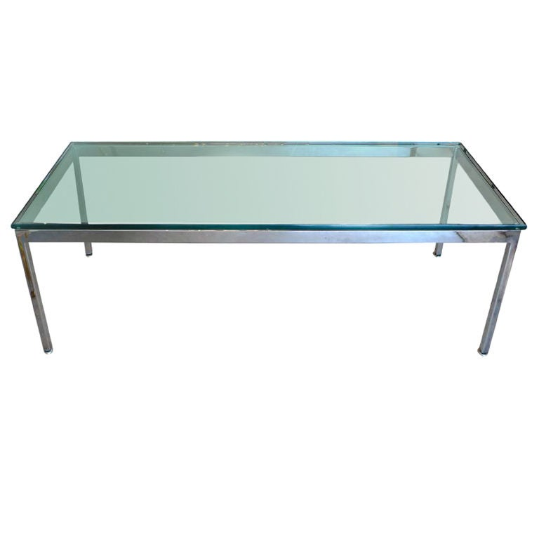 Rectangular Coffee Table With Glass Top And Curved Chrome: Rectangular Chrome Frame Glass Top Cocktail Table At 1stdibs