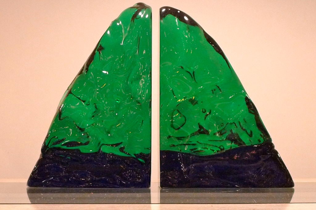 Pair of heavy green and blue Murano glass book ends by maestro Archimede Seguso, circa 1950.
