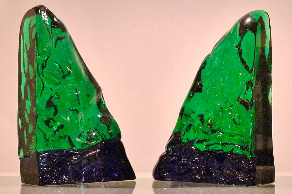 Italian Pair of Bookends by Archimede Seguso For Sale