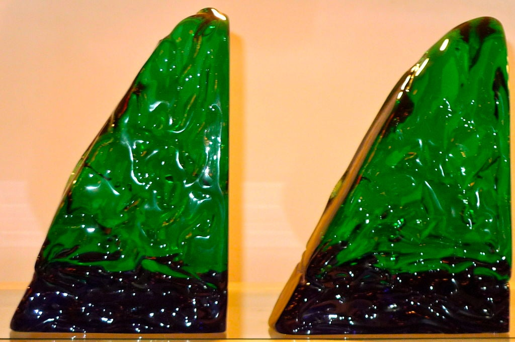 Pair of Bookends by Archimede Seguso In Excellent Condition For Sale In Hingham, MA