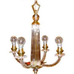 Jacques Adnet Petite 4 Arm Lucite, Glass & Brass Chandelier