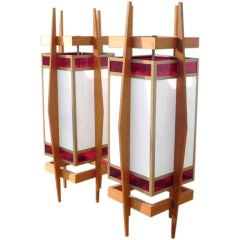 Pair of Teak-Framed and Stained Glass Hanging Lanterns