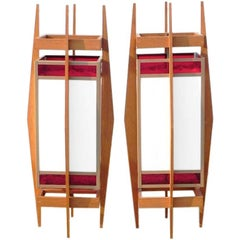 Pair of Architectural Teak and Stained Glass Lanterns