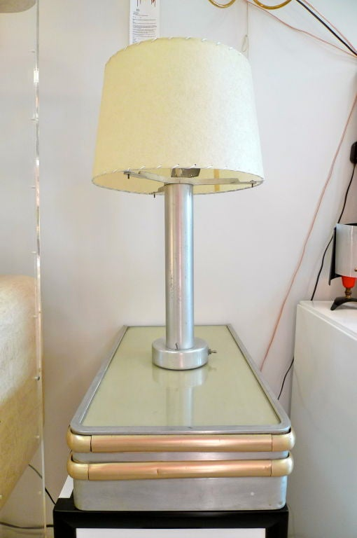 S.S. United States Floating Side Table with Lamp For Sale 1