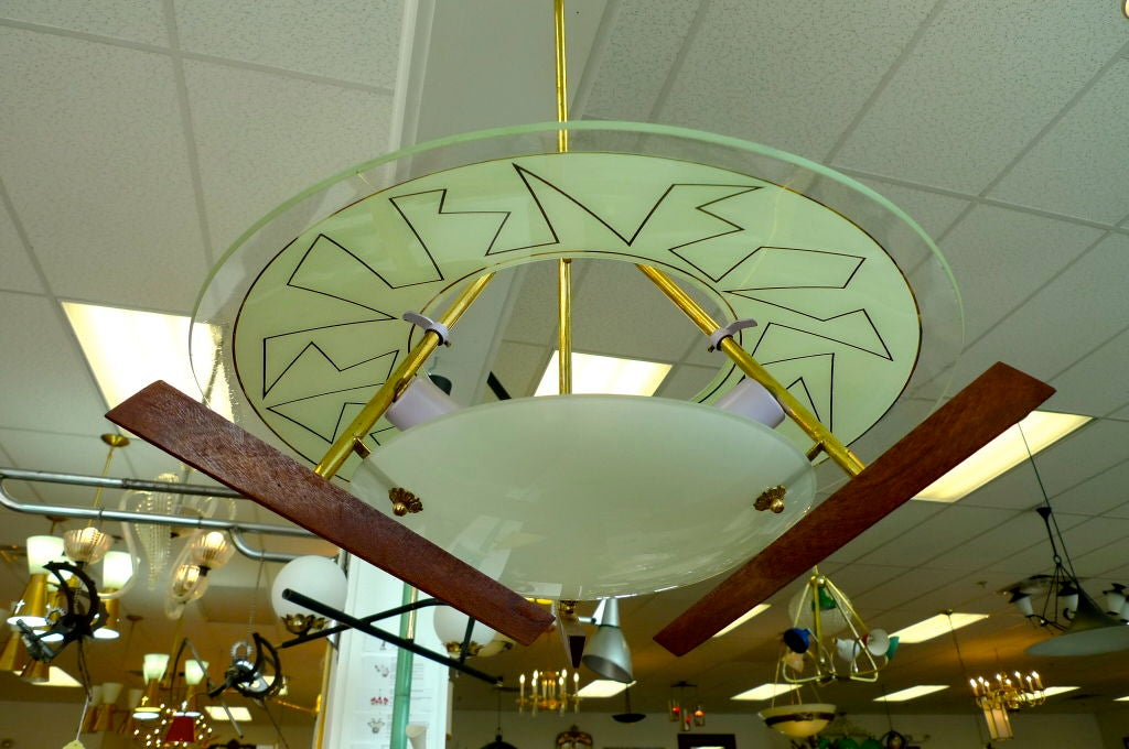 Mid-20th Century Italian Modernist Chandelier in the style of Angelo Lelii For Sale
