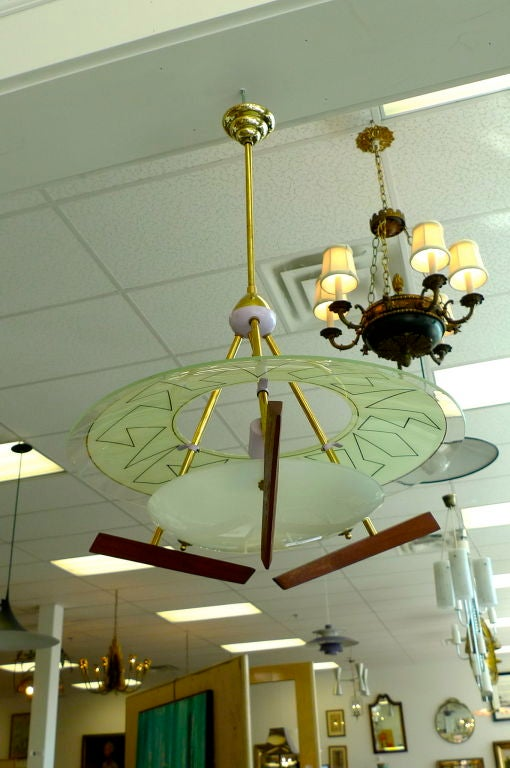 Italian Modernist Chandelier in the style of Angelo Lelii For Sale 2