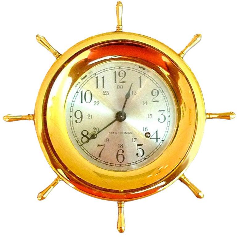 Seth Thomas Helmsman Brass Ships Bell Clock At 1stdibs