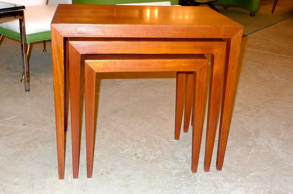 Danish Ludvig Pontoppidan Teak Nesting Tables For Sale