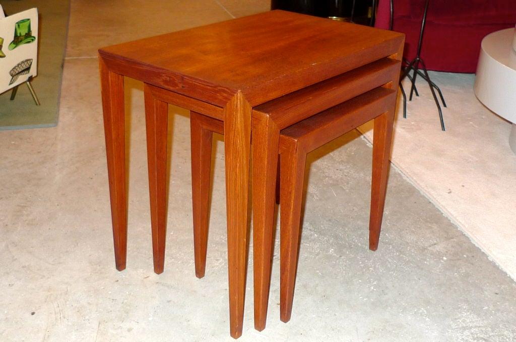 Mid-20th Century Ludvig Pontoppidan Teak Nesting Tables For Sale