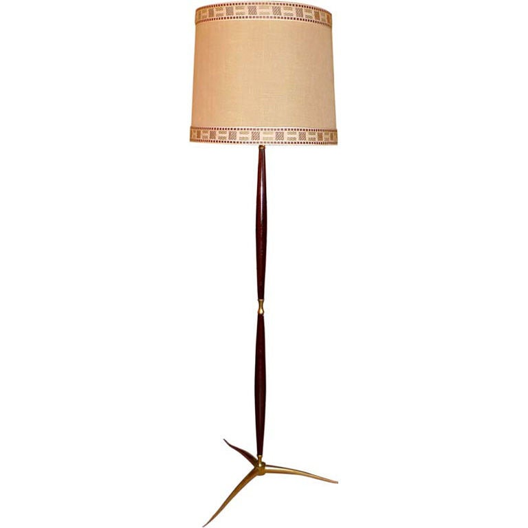 Cesare lacca mahogany and brass tripod floor lamp at 1stdibs cesare lacca mahogany and brass tripod floor lamp for sale aloadofball Images