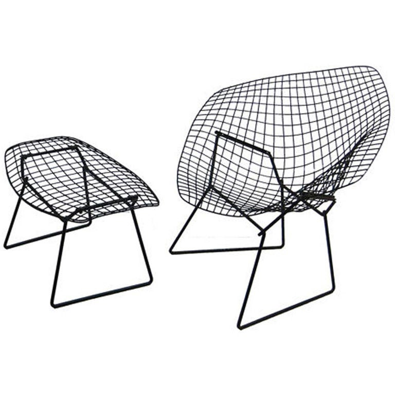 vintage diamond chair and ottoman by harry bertoia for knoll at 1stdibs. Black Bedroom Furniture Sets. Home Design Ideas