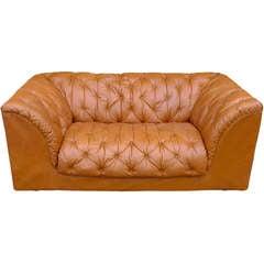 1970's Italian Tufted Leather Sofa by Ambienti Bernini