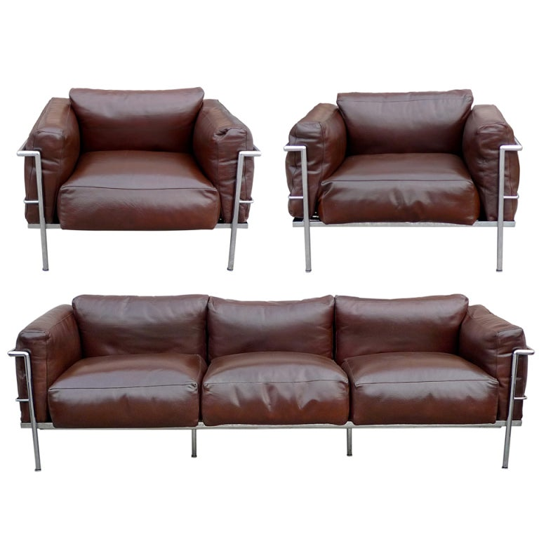 after a model by le corbusier sofa pair of lounge chairs. Black Bedroom Furniture Sets. Home Design Ideas
