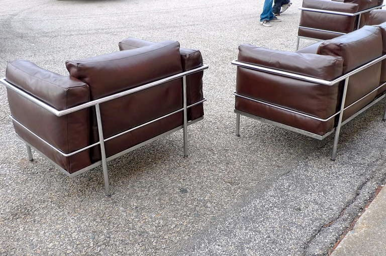 After a model by Le Corbusier, Sofa Pair of Lounge Chairs, circa 1980 9