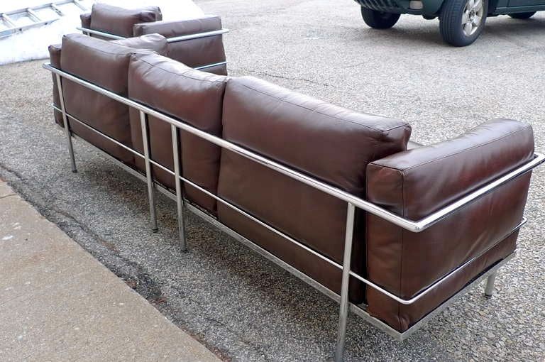 After a model by Le Corbusier, Sofa Pair of Lounge Chairs, circa 1980 10