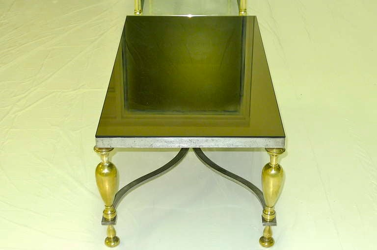 Mid Century Modern Vintage Classic Steel Brass Tail Table With Bronze Mirror Top For