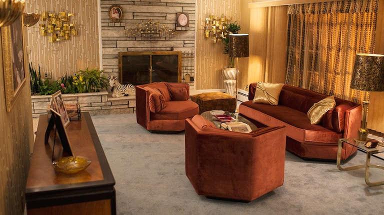 Hexagonal Club Chairs in 'Dr. Pepper' Velvet from American Hustle 5