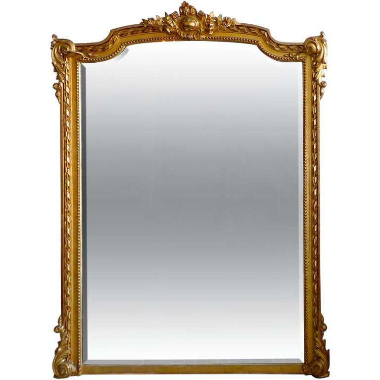 19th c piano nobile gilt over mantel beveled mirror at 1stdibs