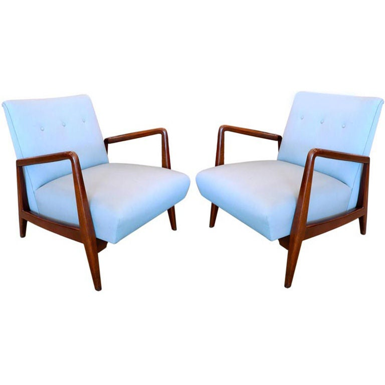 Pair of Jens Risom Walnut Frame Lounge Chairs at 1stdibs