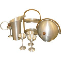American Art Deco Spun Aluminum Barware by Russel Wright
