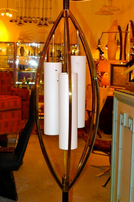 Unusual Tension Pole Floor Lamp With Brass Bird Cage