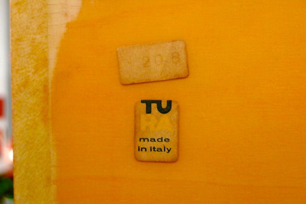 Italian Aldo Tura Mirrored Cabinet Bar on Pedestal Stand
