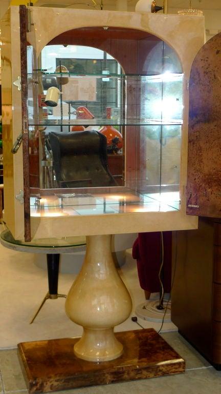 Mid-20th Century Aldo Tura Mirrored Cabinet Bar on Pedestal Stand