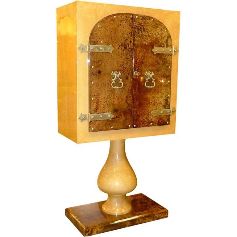 Aldo Tura Mirrored Cabinet Bar on Pedestal Stand