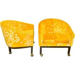 Kipp Stewart for Directional Lounge Chairs in Jack Lenor Larsen Primavera Velvet