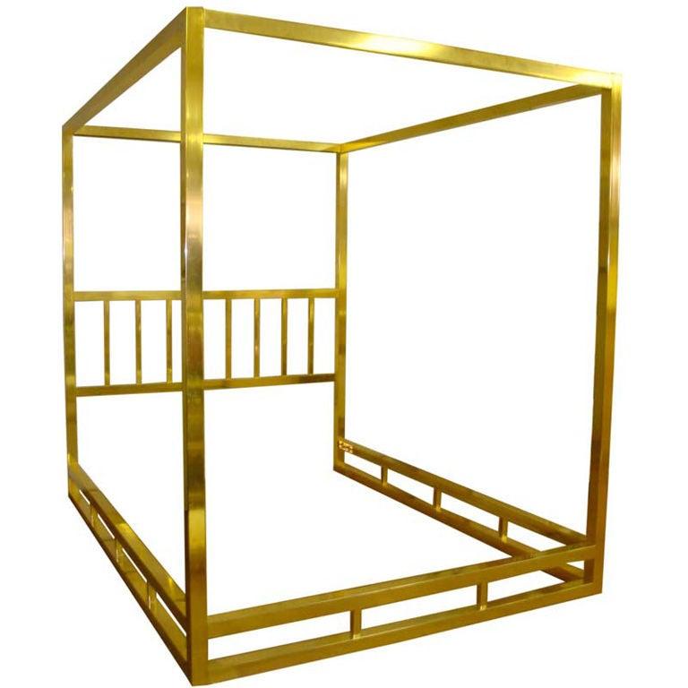 Queen Size Modern Brass Canopy Bed 1 - Queen Size Modern Brass Canopy Bed At 1stdibs