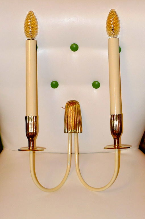 Mid-Century Modern Pair of 1950's Italian Double Candle Sconces by Bruno Chiarini For Sale