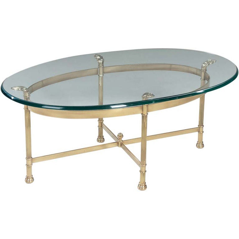 La Barge Oval Brass Cocktail Table At 1stdibs