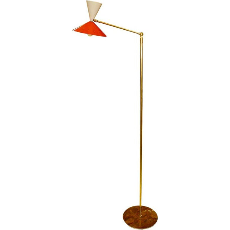 Stilnovo Articulating Arm Floor Lamp With Diabolo Shade At
