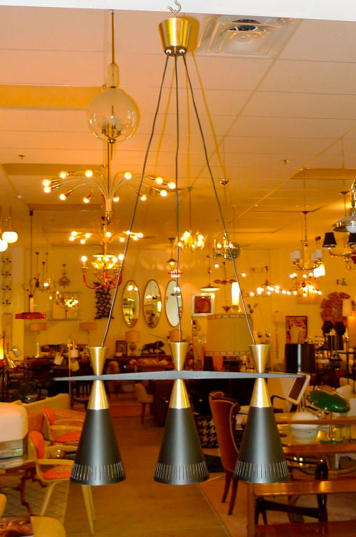 Mid-Century Modern Pair of Swedish Tri-Cone Linear Pendant Lamps For Sale
